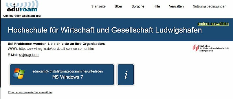 Screenshot Webseite cat.eduroam.de